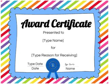 Colored award certificate
