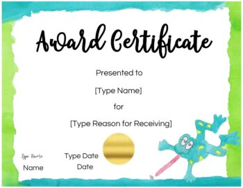 Free Custom Certificates for Kids   Customize Online ...