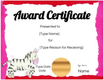 Certificate for child