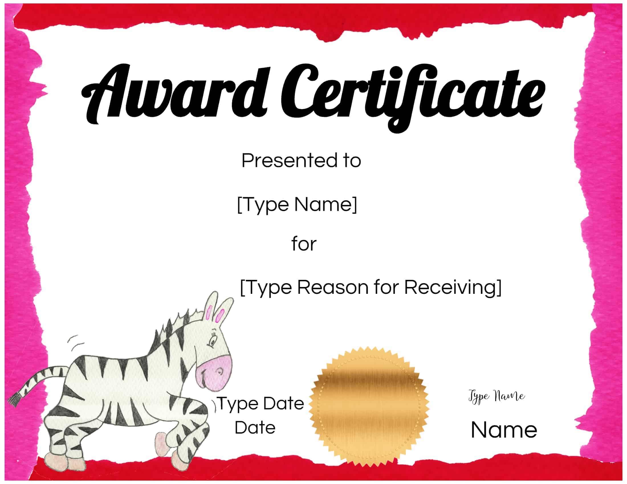 free custom certificates for kids