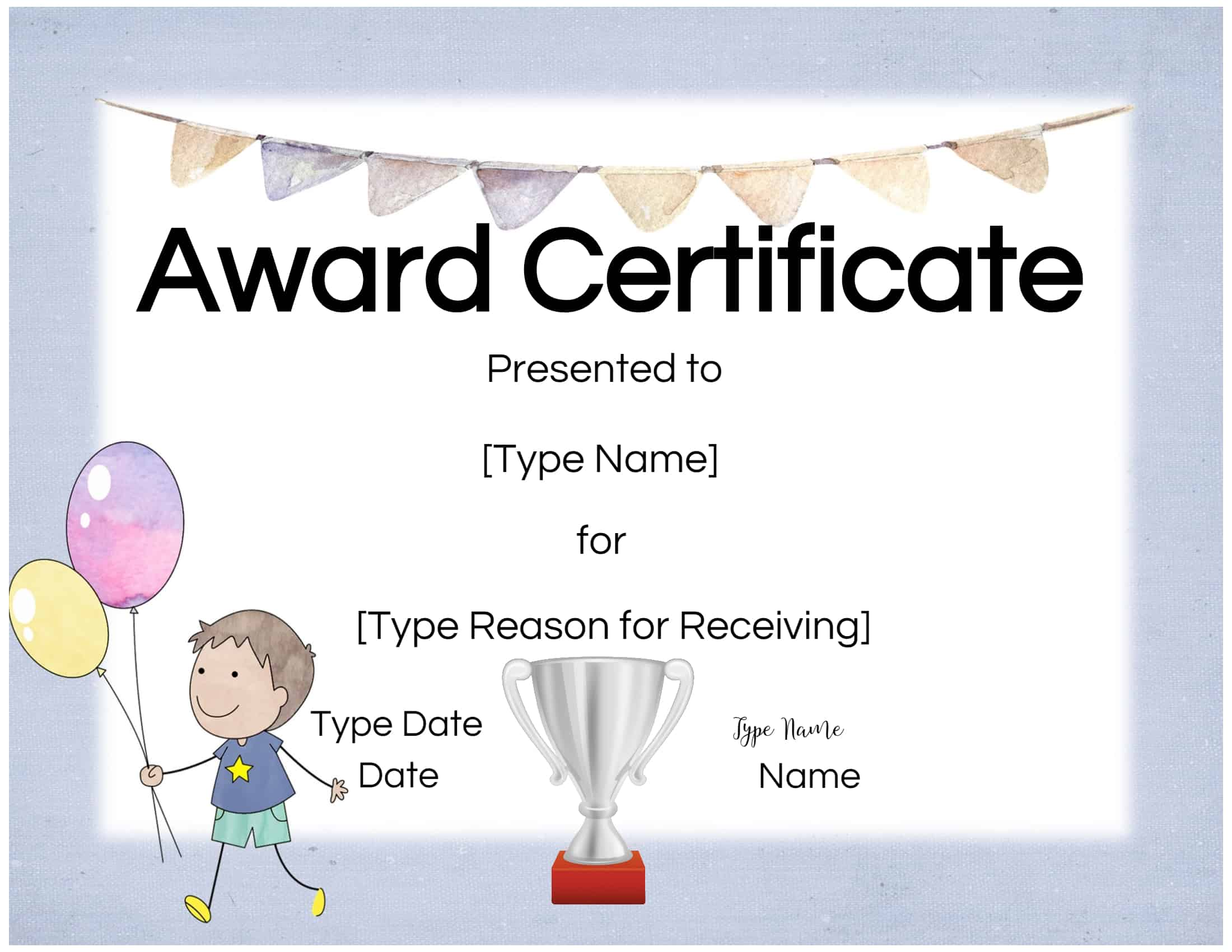 free custom certificates for kids