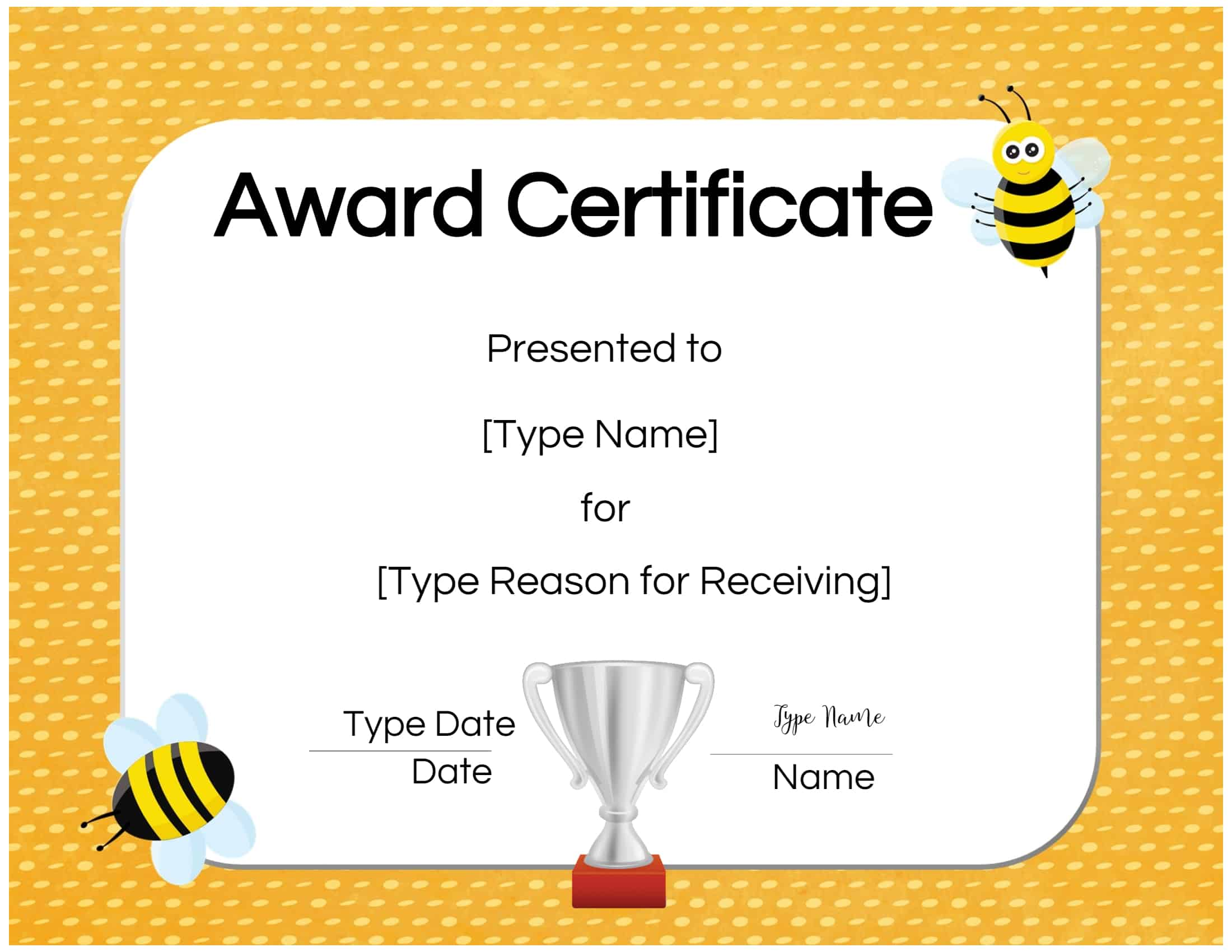 Free Custom Certificates For Kids Customize Online Print At Home