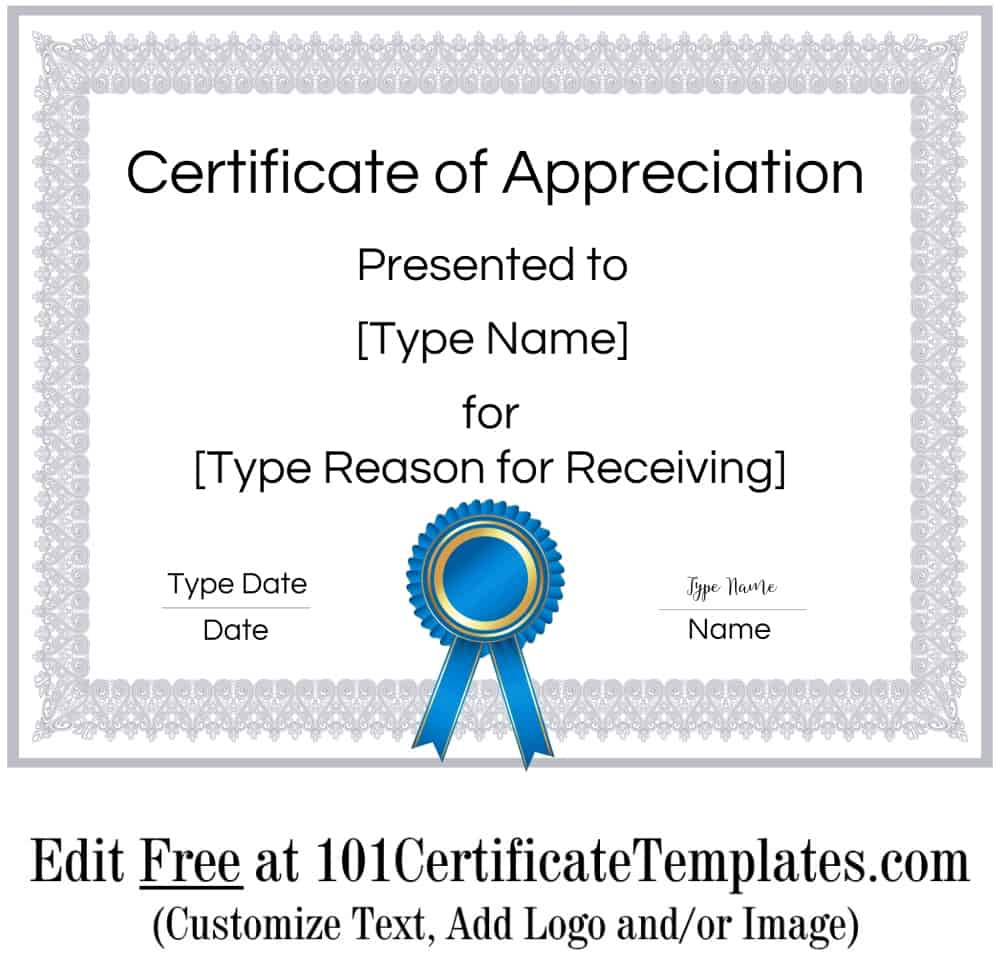 Free Printable Certificate Of Appreciation Customize Online