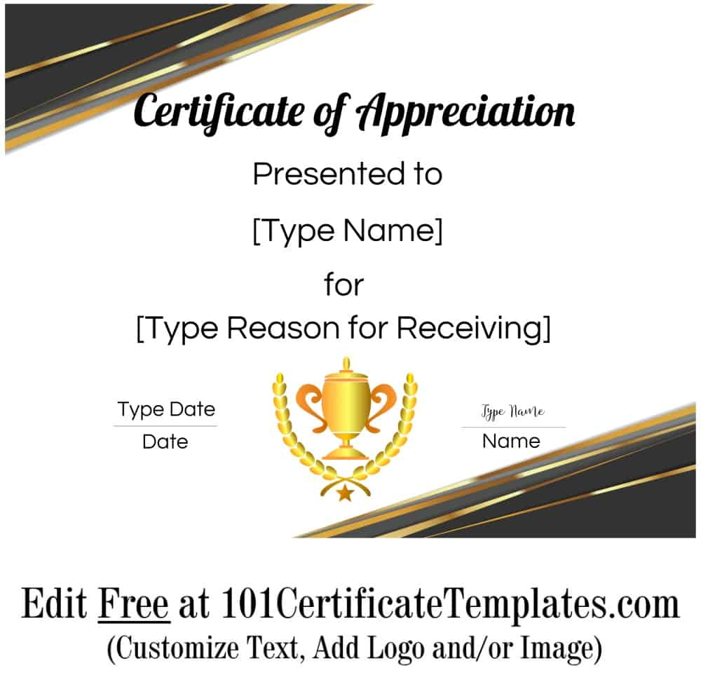 Free Printable Certificate Of Appreciation Template Customize Online