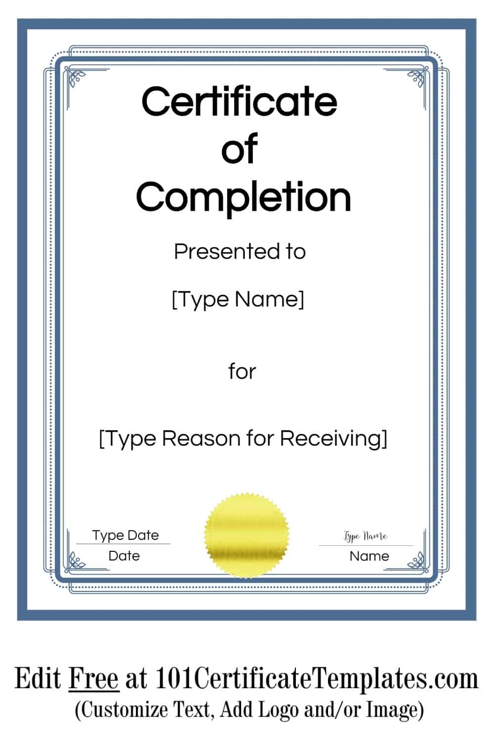Free Certificate of Completion | Customize Online then Print