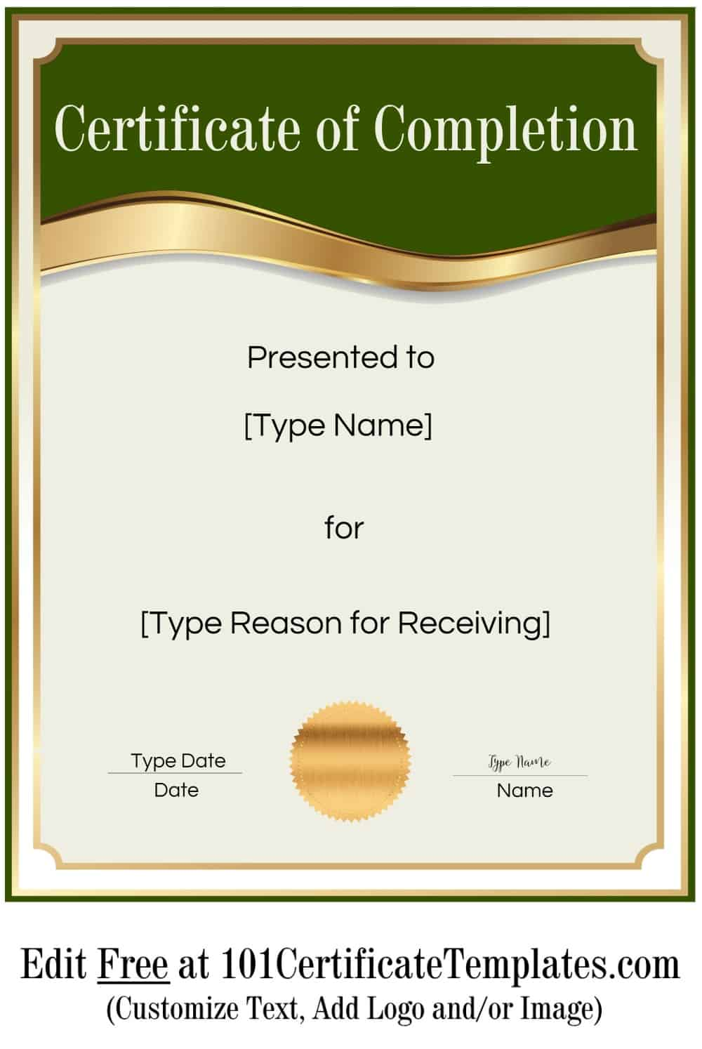 Free Certificate Of Completion Customize Online Then Print