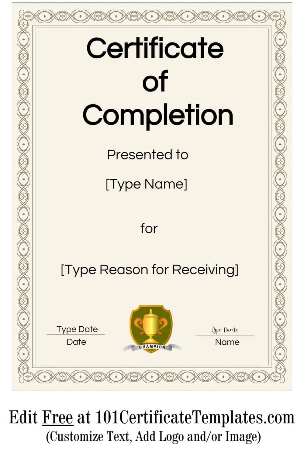 This is an image of Gorgeous Printable Certificate of Completion