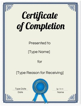 completion printable