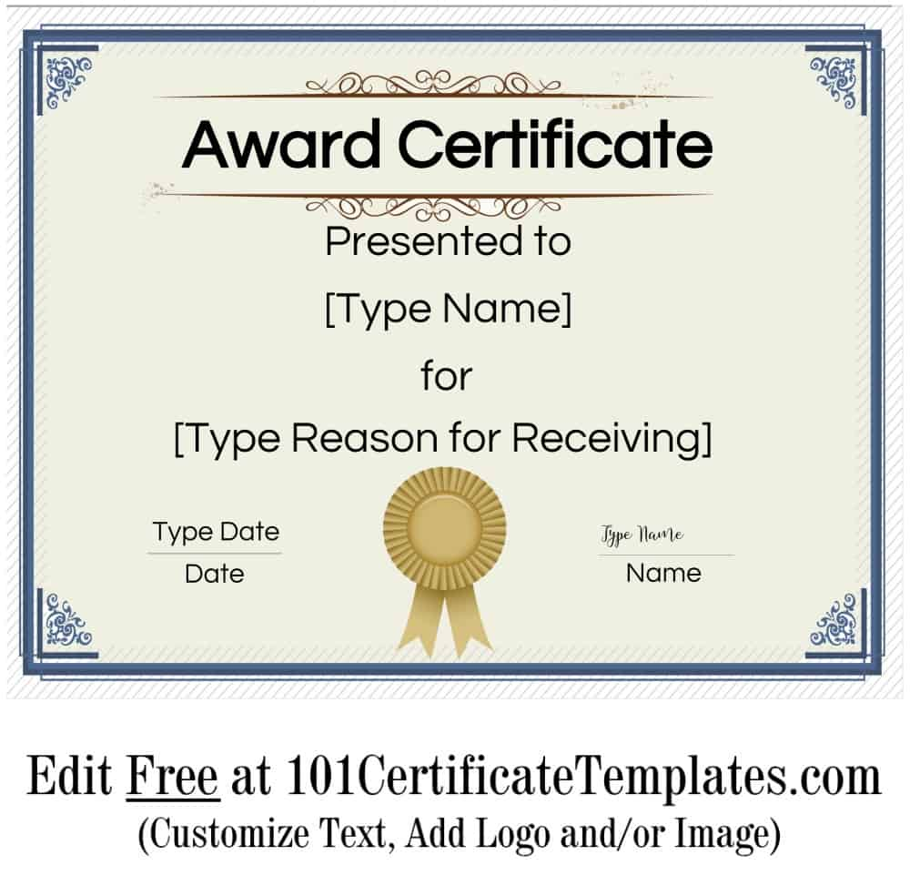 It's just a graphic of Geeky Printable Award Template