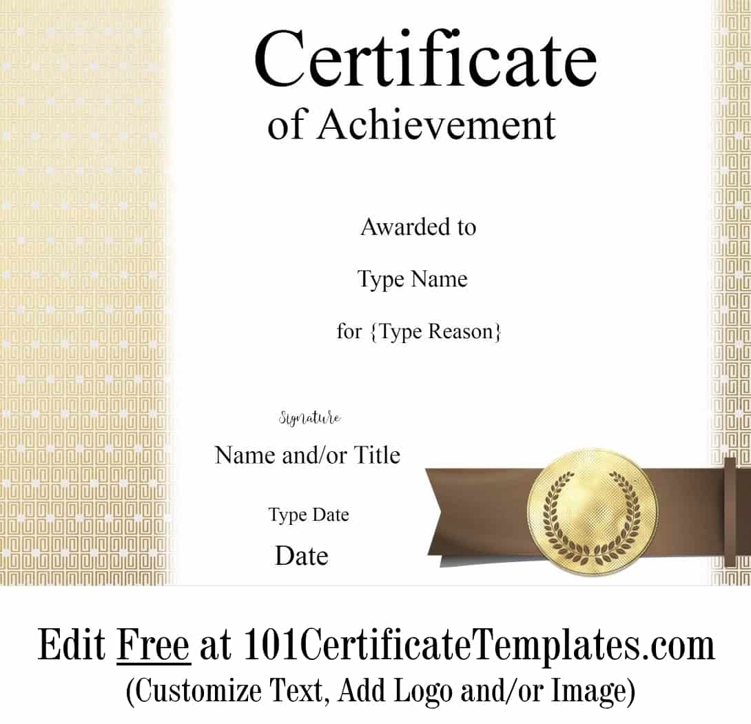 certificate achievement customize printable template