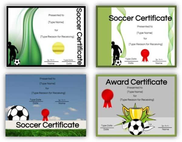 Soccer certificate printable