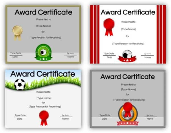 Printable certificates for soccer