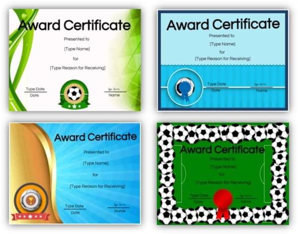 Soccer certificate templates