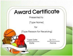Sports award certificate