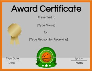 "Orange border with green frame around the ball. Gold ribbon under the title ""Award Certificate"""