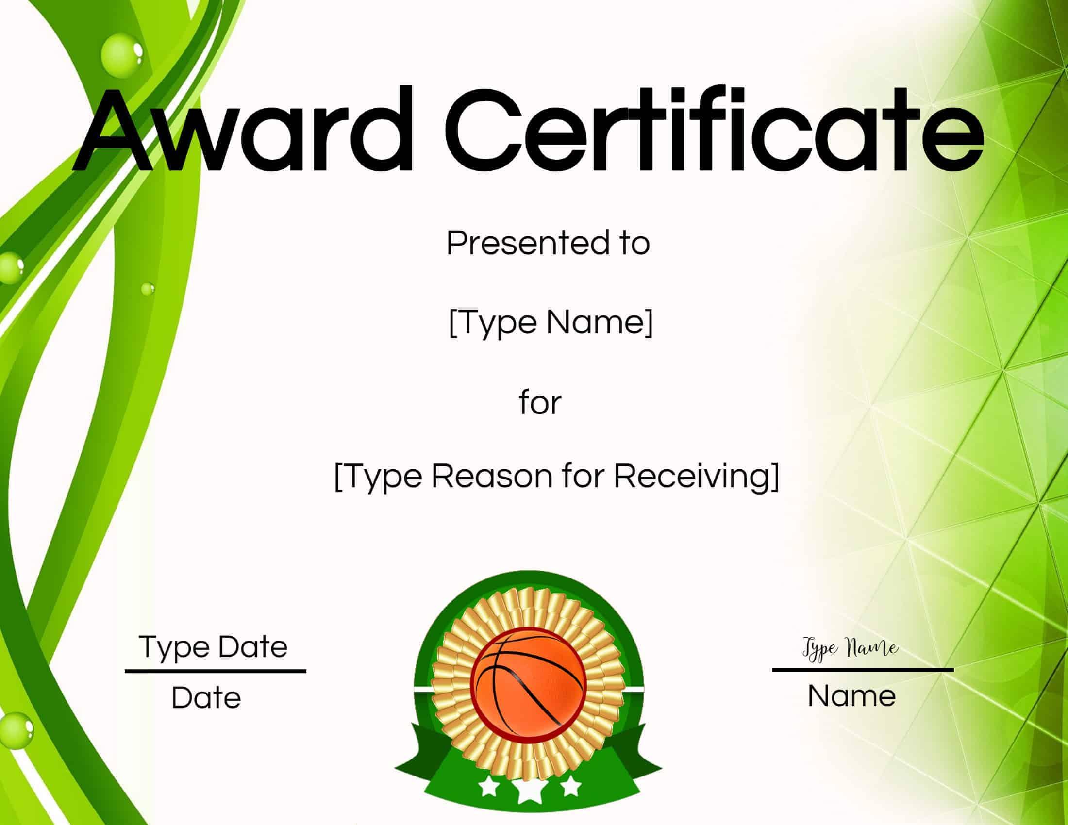 certificate basketball certificates soccer volleyball tennis maker award printable awards edit open