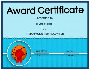Basketball award certificate with blue border and a red ribbon on a basketball