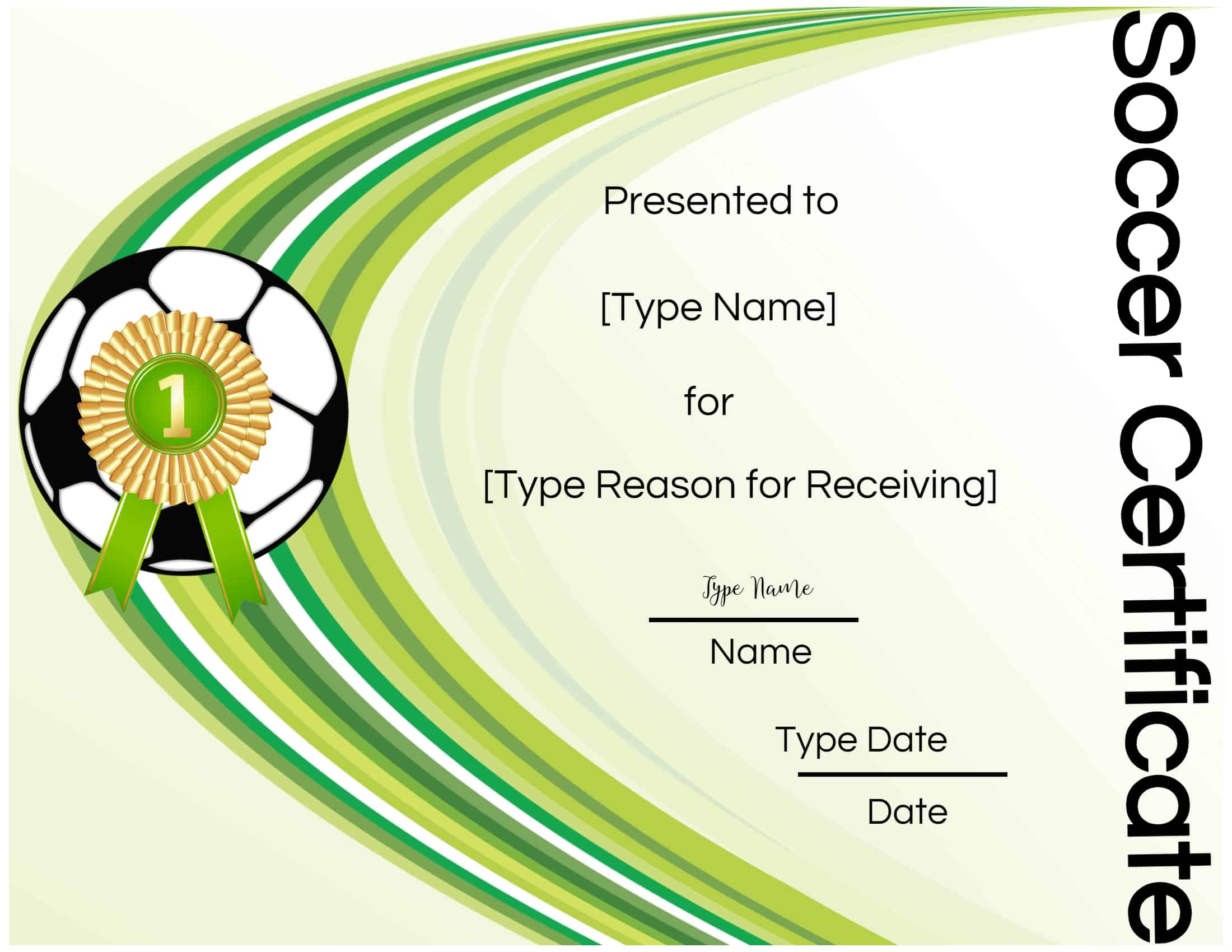 This is a picture of Smart Printable Soccer Certificate