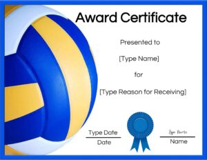 Printable volleyball certificates of achievement