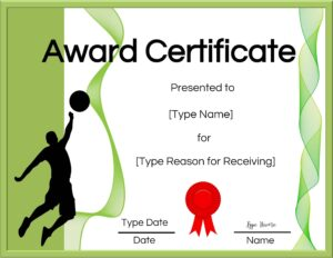 Free printable volleyball award certificate