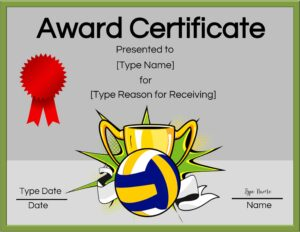 Free printable volleyball certificate awards