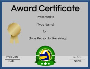 Printable volleyball certificate award