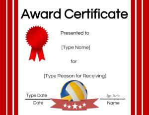 Volleyball certificate generator