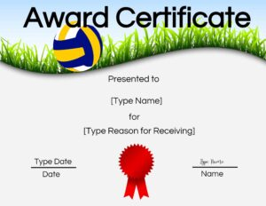 Printable volleyball certificate awards
