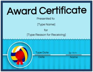 Printable volleyball certificates awards