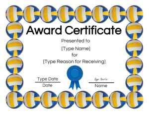 Volleyball certificate creator