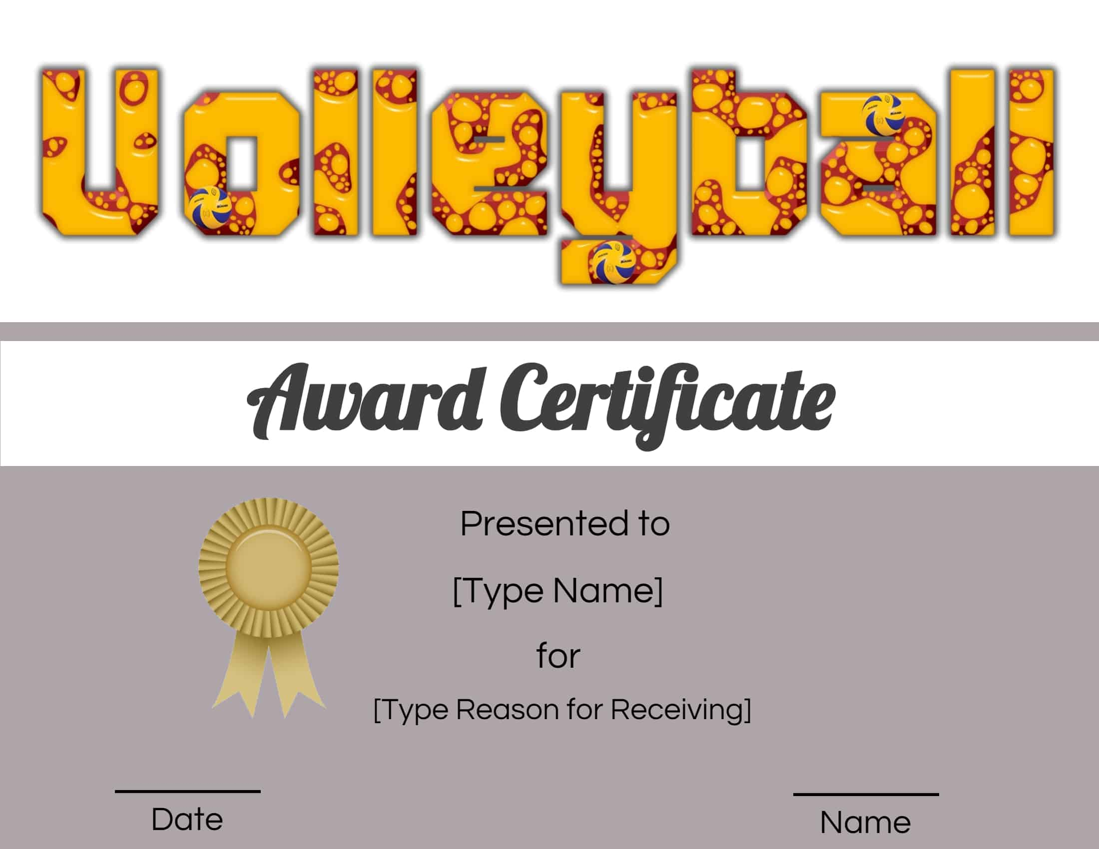 Free Volleyball Certificate  Edit Online and Print at Home Within Free Funny Award Certificate Templates For Word