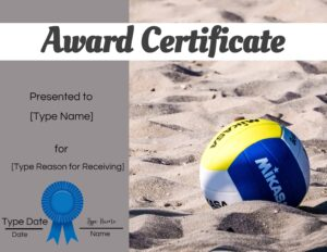 Volleyball award templates