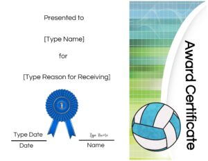 Volleyball award template