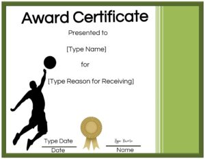 Free printable volleyball awards certificate