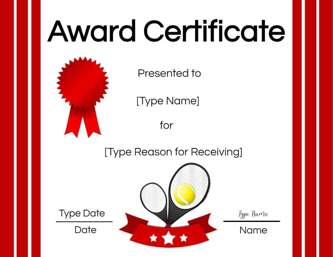 Free Tennis Certificate