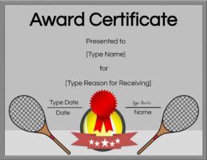 Free tennis certificates