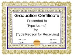 Gold and blue certificate border