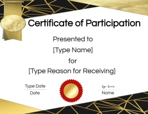 Black and gold certificate design.