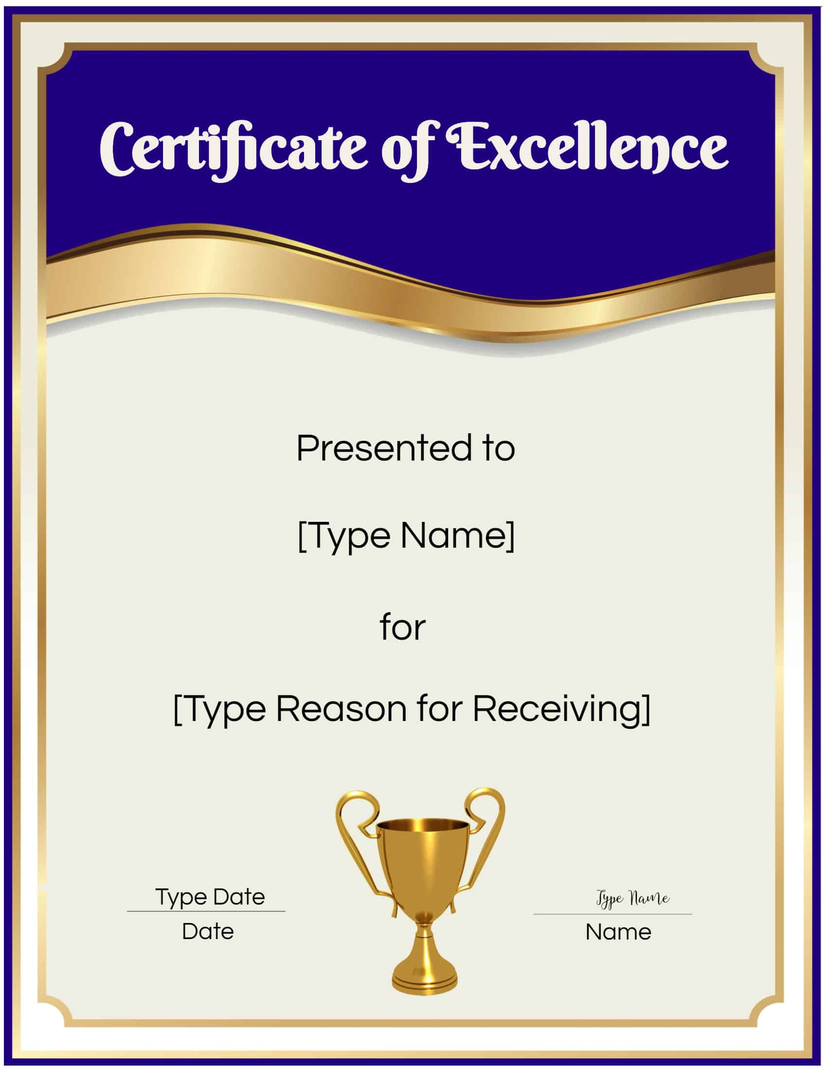 FREE Certificate of Excellence  Editable and Printable Throughout Award Of Excellence Certificate Template