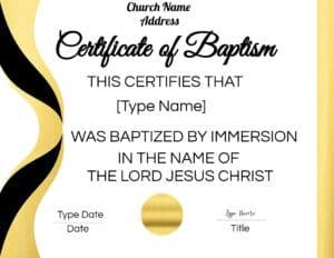 Baptism certification