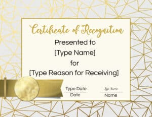 In recognition of certificate