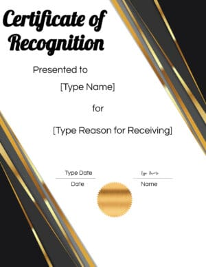 Certificate of Recognition Wording
