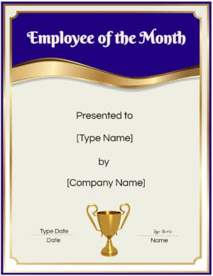 Staff of the month template