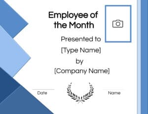 Employee of the Month Photo Certificate