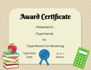 Free editable certificates for students