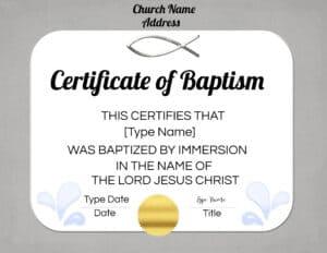 baptismal certificate sample