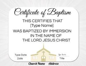 Baby baptism certificate