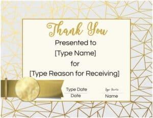 Thank you appreciation award