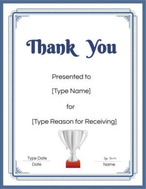 Thank you award