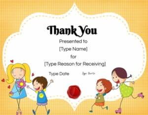 Thank you teacher certificate